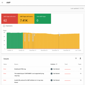 google search console-amp report